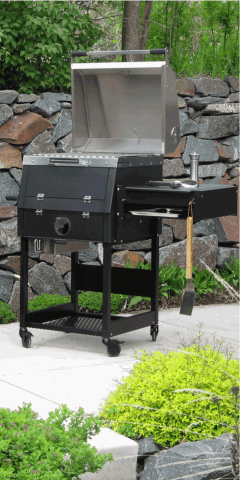 The B1 backyard charcoal grill in situ
